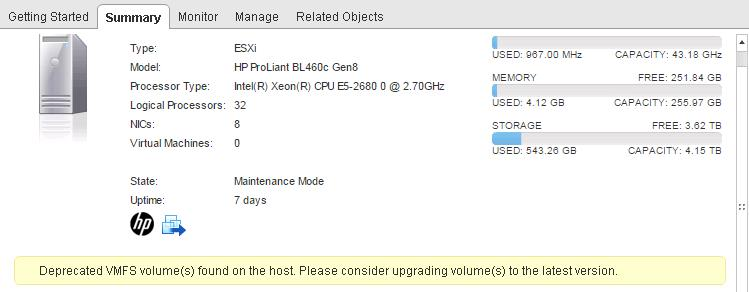 Deprecated VMFS Volumes found on the Host Vsphere ESXi 6